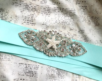 Beach Sash, Beach Wedding Sash, Beach Bridal Sash, Starfish Sash, Starfish Wedding Belt, Starfish Belt, Beach Wedding Belt, Aqua sash Belt
