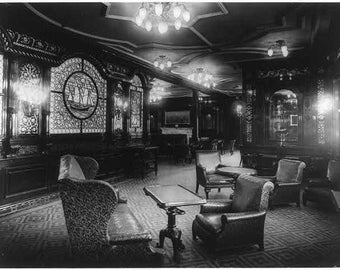 The S.S. OLYMPIC, 1911: Smoking room, Sister-Ship of the Titanic