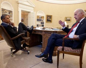 Barack Obama with Joe Biden in the Oval Office