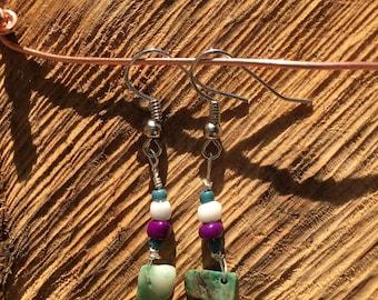 Green Stone Dangle Earring