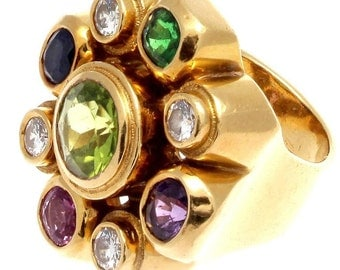 Colorful Gemstone Gold Ring