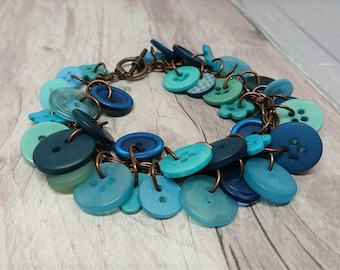 Teal, aqua and copper charm style button bracelet, handmade button bracelet, copper bracelet