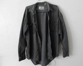 LARGE Vintage 1990s LEVI STRAUSS Gray Long Sleeve Shirt