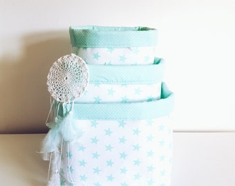 Stars, fabric storage basket, organizer, container. Nappy basket, toy storage, nursery decor, kids room. Mint green and white.