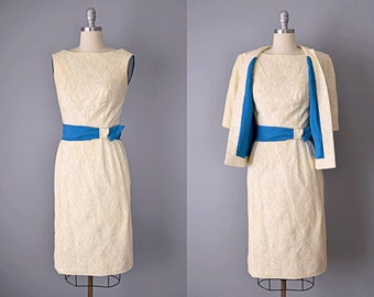 Vintage 60s Dress and Jacket // 1960s Ivory Pat Premo Outfit // Small