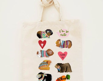 Cotton Tote Bag Limited Edition Guinea Pig Illustration - Canvas Cotton Tote Bag