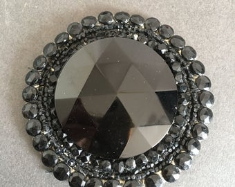 Hand Made Vintage Art Deco Faceted Glass Beaded Black Appliqué