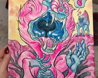 Crooner Original 9x12 Gouache Painting