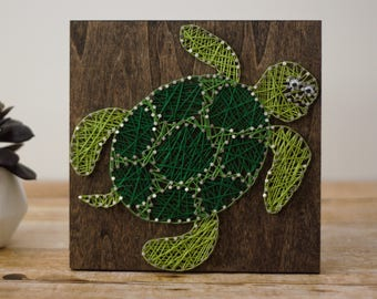 Sea Turtle String Art - Under The Sea String Art - Ocean Life Nail String Art - Children's Bedroom - Children's Bathroom