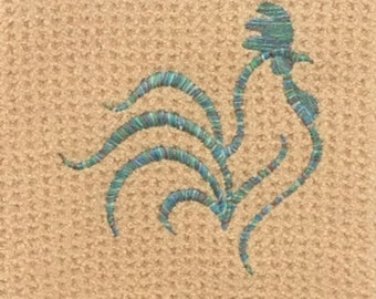 Rooster - Waffle Weave Microfiber Hand Towel - Butter