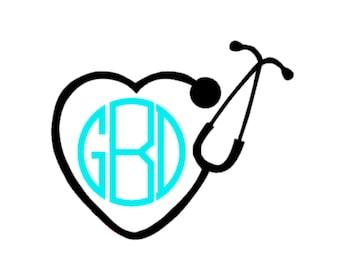 Stethoscope Decal | Nursing Decal | Heart Nursing Sticker | Vinyl Decal | Monogram Nursing Decal |Stethoscope Monogram Nursing Decal | Heart