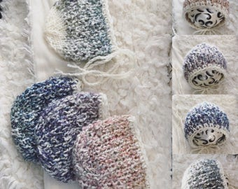 Newborn size knit photo prop round back bonnet,mohair ,photo prop,gift,knit,bonnet,ready to ship
