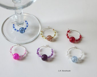 Wine glass charm set, Wine / Champagne glass decorations, beaded party glass charms, table decor, birthday, housewarming gifts, garden party