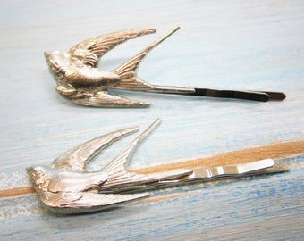 Antique Silver Plated Set of 2 Sparrow Bobby Pins, Sparrow Hair Clips, Boho Hair Clips, Boho Hair Accessories, Wedding Hair Accessories