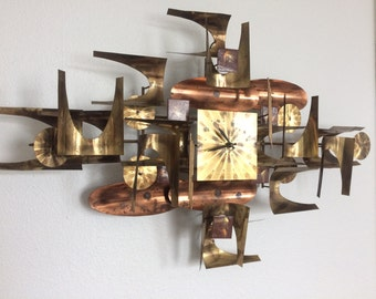Brutalist Brass Wall Hanging w/ Clock | W. Vose | Mid Century Modern | C. Jere Style