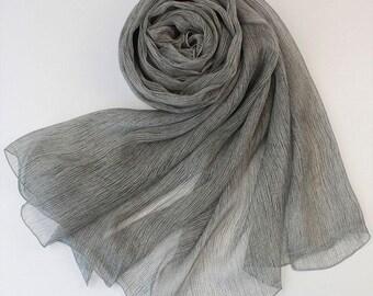 Gray Ruched Silk Chiffon Scarf - Ruched Grey Green Silk Scarf - Gray Ruched Mulberry Silk Chiffon Scarf-2017R