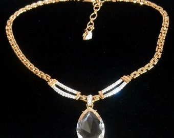 Signed Swarovski Necklace Gold Plated with Crystal Pendant - New - Swan Logo (D)