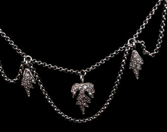 Signed Christian Dior Necklace Rhodium Plated Crystal Set Leaves New (D)