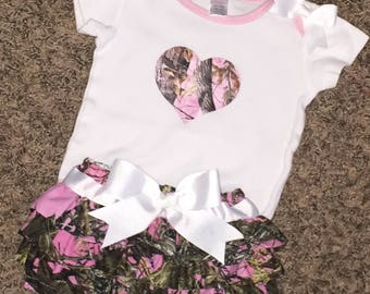 Fun Pink Camo Ruffle Diaper Cover and Onesie with Camo Heart