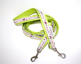 Dog leash adjustable upholstered with artificial leather mushroom beige lime