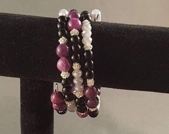 Purple and black memory wire bracelet