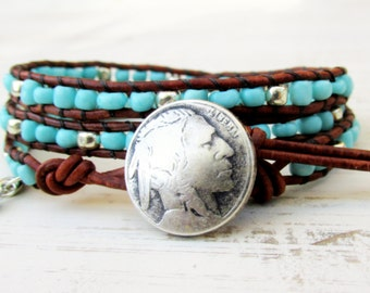 Turquoise Triple Wrap Bracelet ~ Indian Head Nickel Bracelet ~ 3 Times Around Leather Wrap Bracelet ~ Southwestern Boho