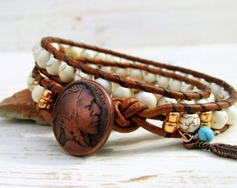 White Turquoise Double Wrap Bracelet with Copper Indian Head Nickel Button ~  Native American Style 2 Times Around Beaded Bracelet