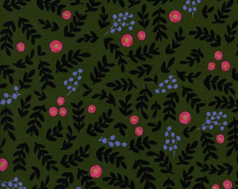 Sale!!- Rose Garden in Moss (metallic)- Wonderland by Rifle Paper Co for Cotton and Steel