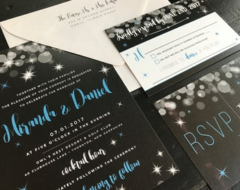 Sparkle Invitation Suite; custom invitation and matching postcard RSVP, black and silver, New Years wedding, New Year's eve