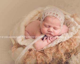 Newborn Hat, Newborn Bonnet, Mohair Bonnet, Newborn Mohair Hat, Knit Hat, Baby Bonnet,  Photography Prop, Photo Props, Newborn Photo Props
