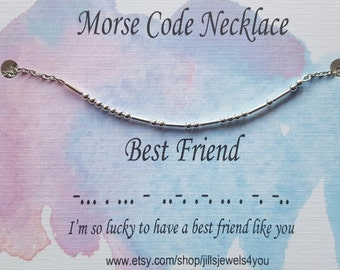 Best Friend Morse Code Necklace, Friendship Necklace, Best Friend Gift, Christmas Present, Bridesmaid Gift, Graduation Gift, Bestie