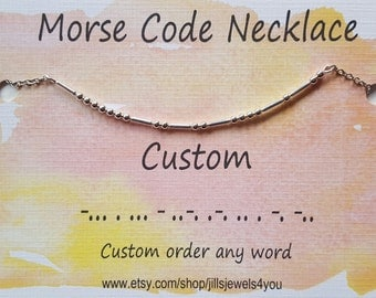 Custom Morse Code Necklace, Best Friend Gift, Personalized Name Morse Code Necklace, Name Necklace, Custom Date, Family Necklace, BFF gift