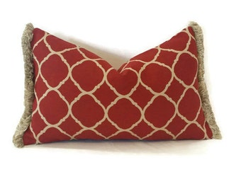 "19.5"" x 12"" Deep Red/Brique and Tan Moroccan Trellis with Fringe Lumbar Pillow Cover"