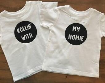 """Cute twins - siblings - set """"Rollin' with my homie"""""""
