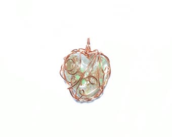 Copper Wrapped Glass Heart Pendant