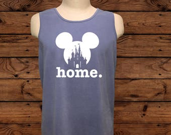 Disney Mickey Mouse Home - Comfort Colors Tank Top - Disney Vacation - Home - Can Be Customized