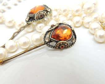 Vintage Brown Orange Antique Style Hair Clip, Bridal hairpin, Jewelry, Bronze Hair Clips, Hair Pin, Pin with amazing Stones, Bobby Pins