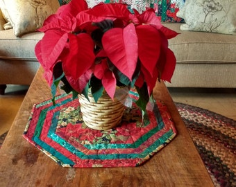 Quilted Christmas Table Topper. Table Runner. Centerpiece Mat. Octagonal. Christmas Fabrics. Reversible. Seasonal. Gift. Approx 20 in across