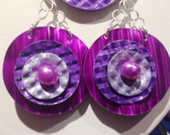 Corrugated Basketweave Anodized Aluminum Magenta Purple Lavender Dapped Riveted Magenta Freshwater Pearl sterling Earrings
