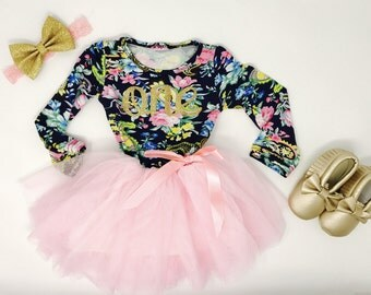 Tutu Dress First Birthday | Baby girl first birthday outfit floral | First Birthday Dress | 1st Birthday Dress | Pink and Navy | Tulle Dress