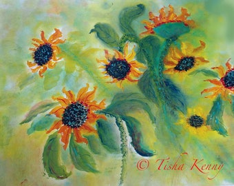 Burst of Sunflowers ORIGINAL ART on  Rice Paper Framed