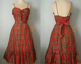 Vintage Fredericks of Hollywood plaid full skirt dress with matching belt 1950s 1960s 50s 60s