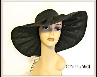 Kentucky Derby Hat, Church Hat, Black Church Hat, Large Brim Hat, Flower Hat, Wide Brim Kentucky Derby Hat, Floppy Derby Hat, Church Hat