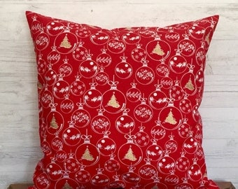 Red Christmas Pillow - Christmas Tree Pillow - Red Holiday Pillow - Red Pillow - Seasonal Pillow - 18 x 18 pillow cover