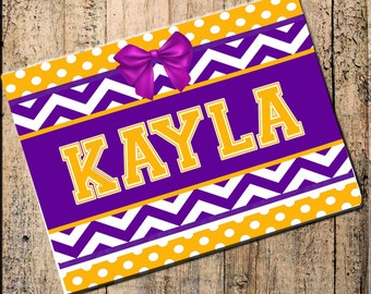 "Personalized Place mat Chevron Polka Dot Purple & Gold Yellow 16"" x 10"" Fabric Top, rubber backing, heat resistant, absorbs moisture"