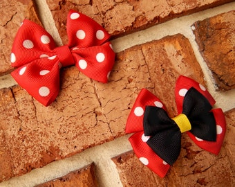 Girly Mouse Basic or Deluxe Boutique Hair Bow - 3-1/2 inch Alligator Clip Single or Stacked Bow