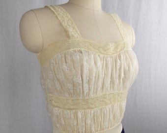 Vintage Ivory and Navy Blue Full Slip Nightgown