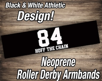 Custom Black & White Roller Derby Arm Bands
