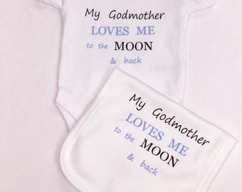 Moon & back or Godmother onesie 1 x bodysuit and bib set or 1 x T-shirt and bib set