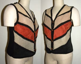 1970s 70s SUEDE & Knit Chevron Vest / Hippie / Boho vest / suede leather / Ms. Today / vintage size 12